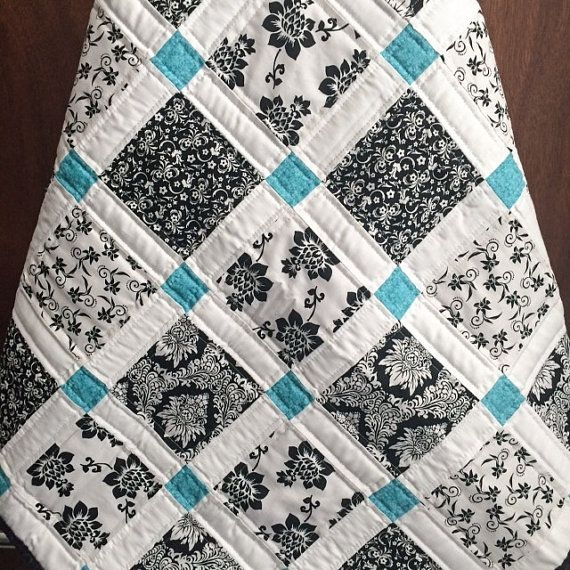 modern ba quilt black white and teal colors quilting Elegant Black And White Quilt Pattern Gallery