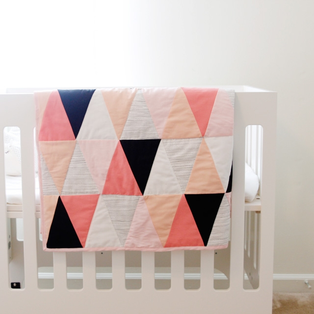 modern ombre bw triangle quilt tutorial pattern see Interesting Triangle Baby Quilt Inspirations