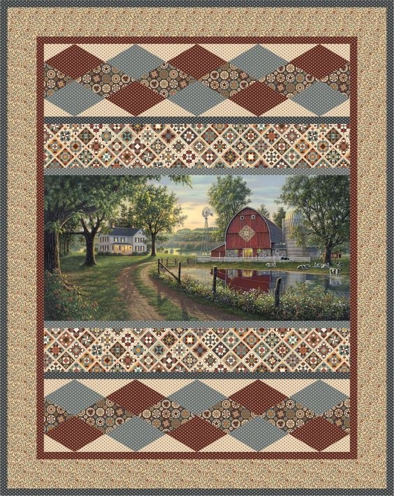 mosaic farm quilts fabric panel quilts quilt boarders Fabric Panel Quilt Patterns Inspirations