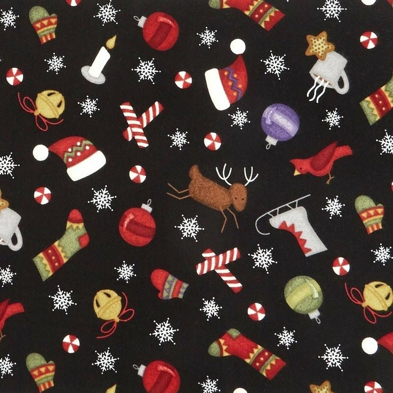 most wonderful time flannel tossed winter motifs black Stylish Flannel Quilting Fabric Gallery