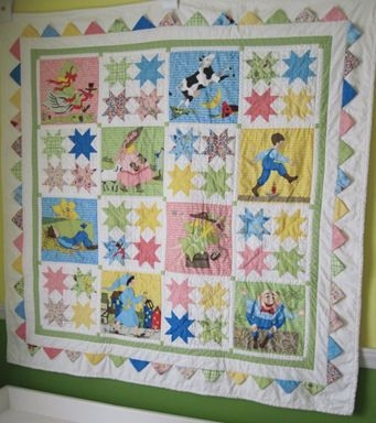 mother goose and friends nursery rhyme vintage ba crib Cozy Vintage Baby Quilt Panels Gallery
