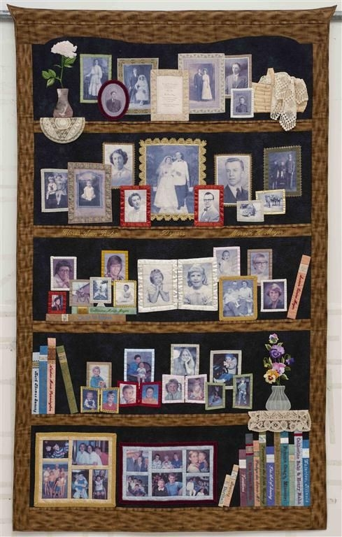 my quilt story susan stewart quilted bookcase photo Cozy Photo Memory Quilt Patterns Gallery