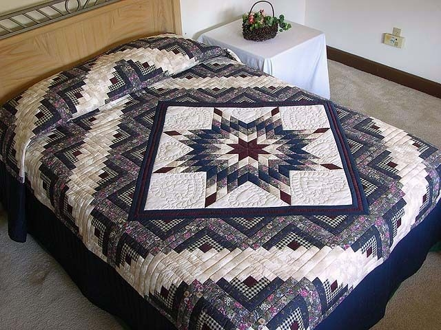 navy and burgundy lone star log cabin quilt photo 1 quilt Stylish Lone Star Log Cabin Quilt Pattern Free Inspirations