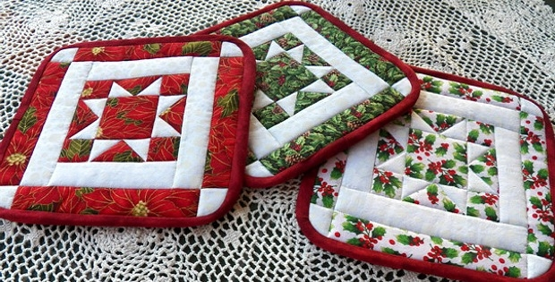 north star potholders for any season quilting digest Modern Quilted Pot Holder Patterns