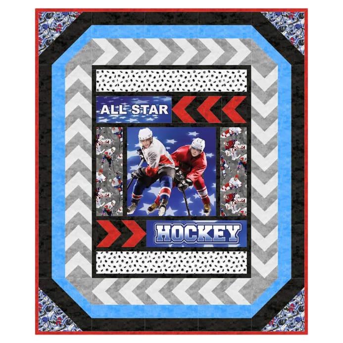 northcott all star hockey just add ice pattern Hockey Quilt Pattern