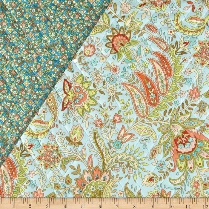 notting hill double sided quilted paisley floral aqua Unique Fabri Quilt Pre Quilted Fabric