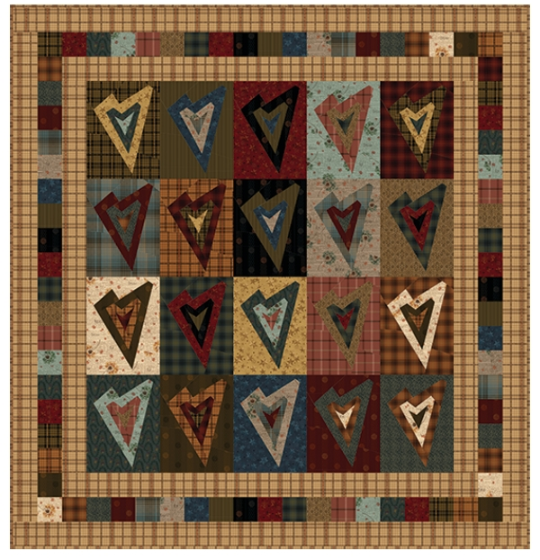 one crazy sister club project 3 log cabin heart kit with Unique Log Cabin Heart Quilt Pattern
