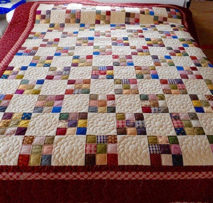 our amish made nine patch calico quilt is full of surprising Modern Amish Quilt Block Patterns