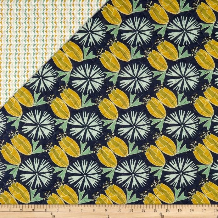 paintbrush studio fabrics bloom pre quilted print tulips flowers navyaqua fabric Unique Fabri Quilt Pre Quilted Fabric