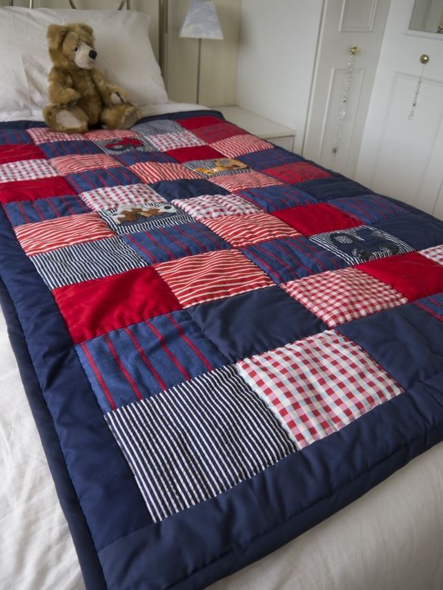 patchwork quilt boys bedroom single bed navy red and white Interesting Single Bed Patchwork Quilt Patterns Gallery