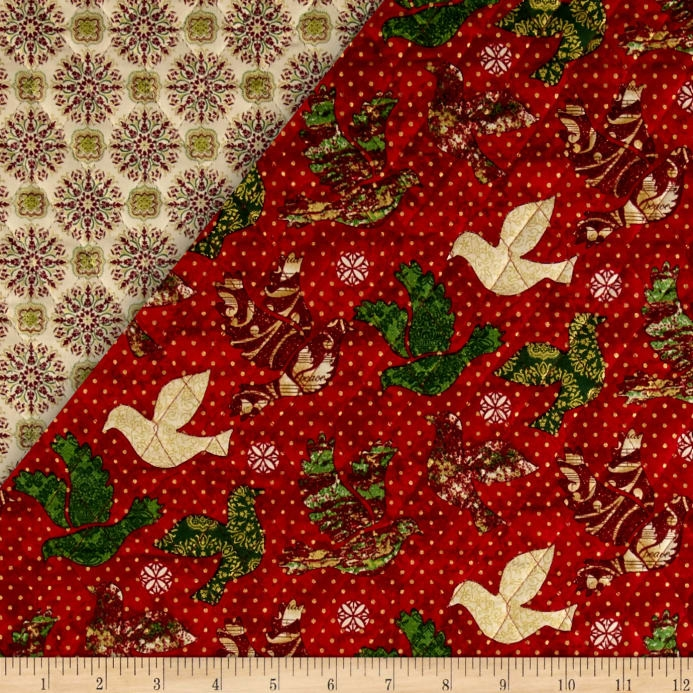 peace on earth double sided quilted doves red Unique Fabri Quilt Pre Quilted Fabric