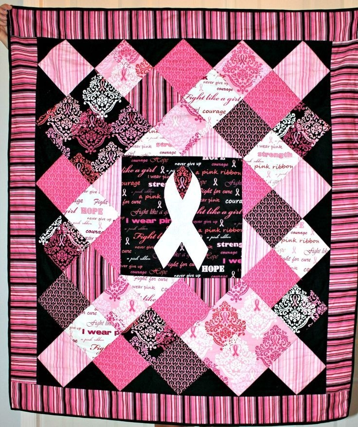 pin erma monhollon on quilting breast cancer party Cozy Pink Ribbon Breast Cancer Quilt Pattern Inspirations