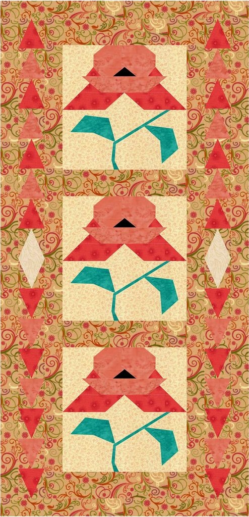 poppies from the past paper piecing pattern jennifer Cool Vintage Poppy Quilt Pattern