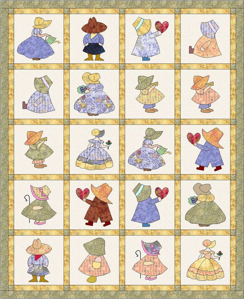 quilt pattern sunbonnet sue and sam quilt 64 x 78 instant download digital quilt pattern Interesting Sunbonnet Sue Quilt Pattern