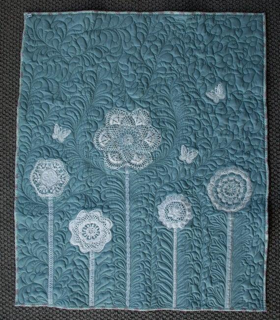 quilt secret garden vintage doily quilt sage green lap quilt bedding throw machine quilted girls Interesting Vintage Doily Quilt Gallery