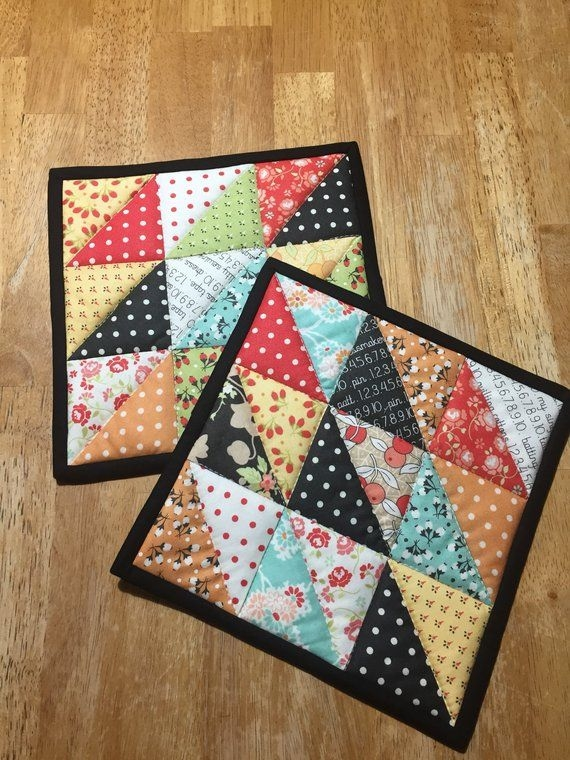 quilted hot padsquilted pot holdersinsulated trivetsset Modern Quilted Pot Holder Patterns