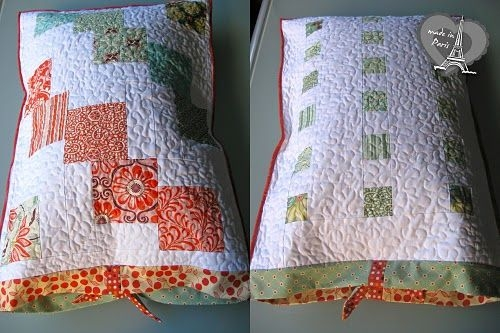 quilted pillowcase with charm squares sewingquilts etc Stylish Pillowcase Quilt Pattern Gallery
