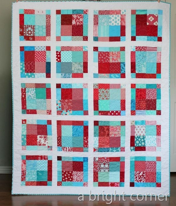red aqua disappearing nine patch variation quilt crafty Elegant Nine Patch Quilt Patterns Variations Inspirations