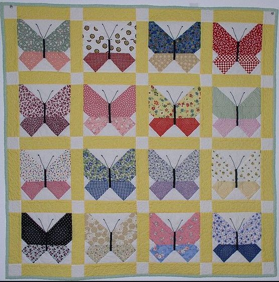retro butterfly quilt quilts butterflies butterfly quilt Stylish Vintage Butterfly Quilt Block Patterns