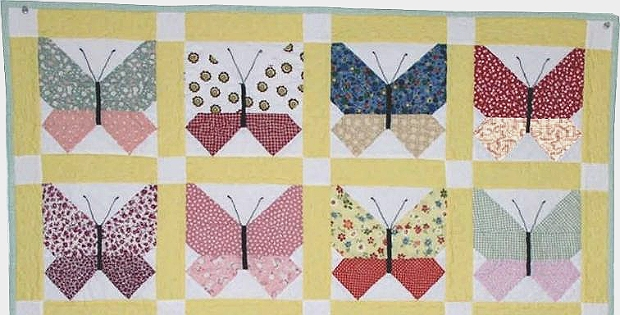retro fabrics are lovely in this butterfly quilt quilting Cozy Butterfly Quilt Block Pattern Inspirations