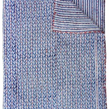 reversible indigo blue kantha quilt indian handmade kantha bedding bedspread cotton blanket reversible gudri ralli vintage decor Vintage Indigo Quilt Gallery