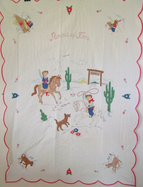 round up time western cowboycowgirl quilt cindy rennels Interesting Vintage Cowboy Quilt Gallery
