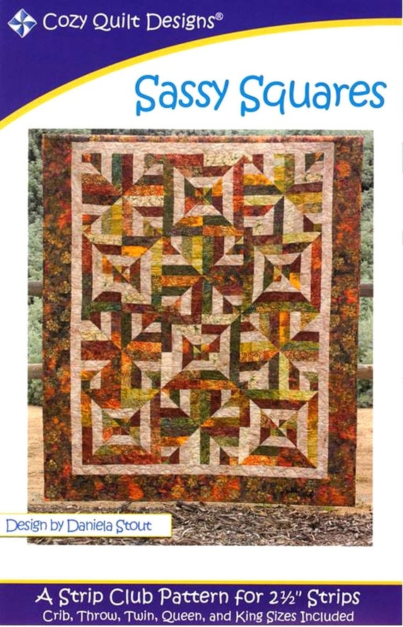 sassy squares quilt pattern strip club pattern for 2 12 strips cozy quilt designs cqd 01050 2 1 2 Strip Quilt Patterns