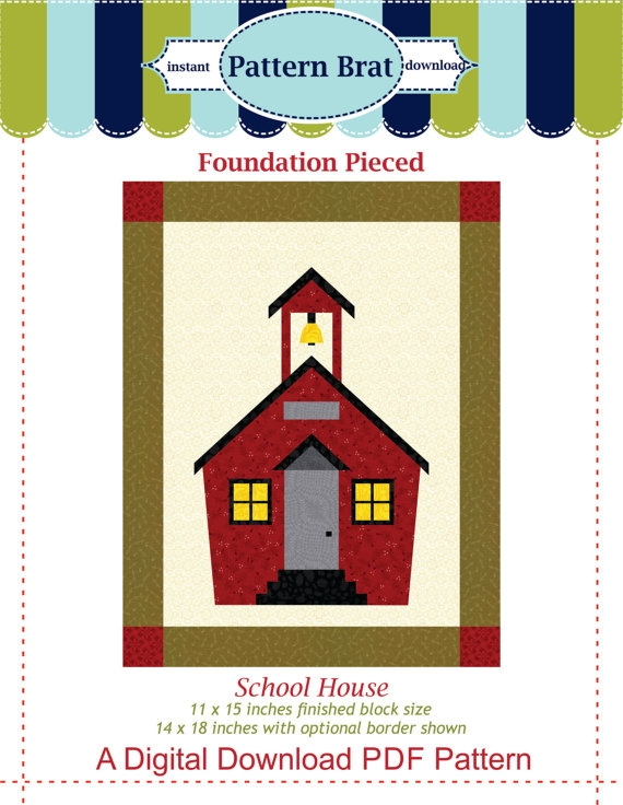 school house quilt block pattern paper pieced pattern Interesting Schoolhouse Quilt Pattern Inspirations