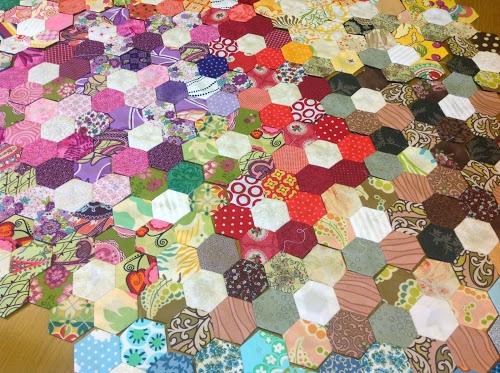scrappy flower hexagon quilt sewn up Unique Hexagon Patchwork Quilt Patterns Gallery