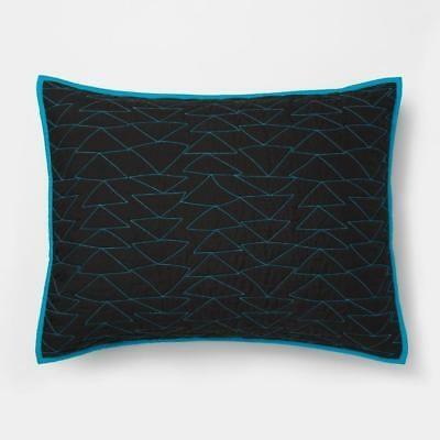 set of 3 pillowfort triangle stitch pillow shams black and blue standard 20 x 26 ebay Modern Triangle Stitch Quilt And Sham Set Pillowfort Inspirations