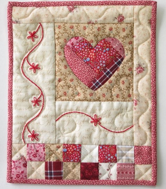 shab cottage chic wall quilt heart applique wall quilt Modern Heart Applique Quilt Patterns