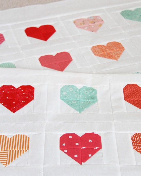 simple heart quilt cluck cluck sew Cozy Heart Quilt Block Pattern