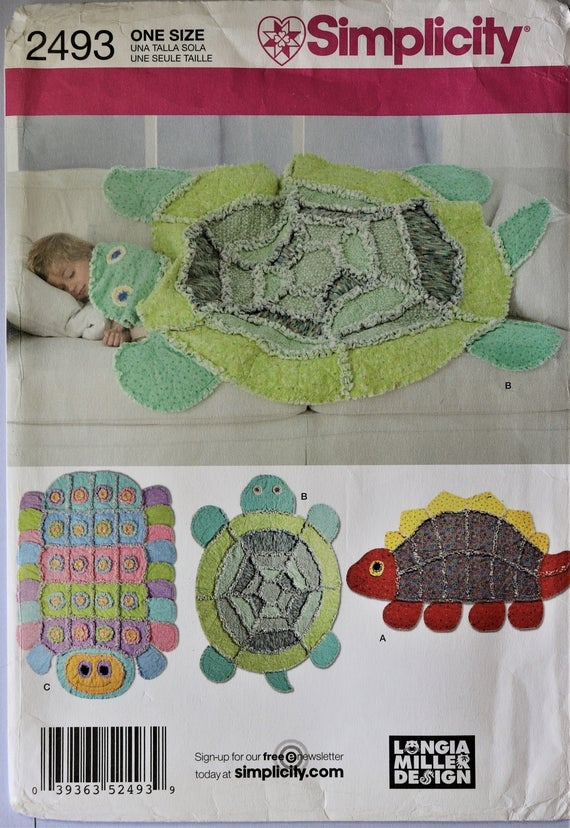 simplicity 2493 rag quilts pattern animal rag quilts child animal chenille rag quilts dinosaur turtle and caterpillar rage quilts Interesting Turtle Rag Quilt Pattern Inspirations