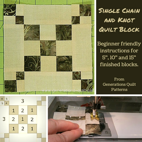 single chain and knot quilt block pattern 3 sizes Stylish Waste Knot Quilt Instructions