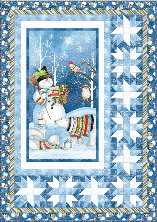snowy friends free quilt pattern christmas quilt patterns Cozy Panel Quilt Patterns