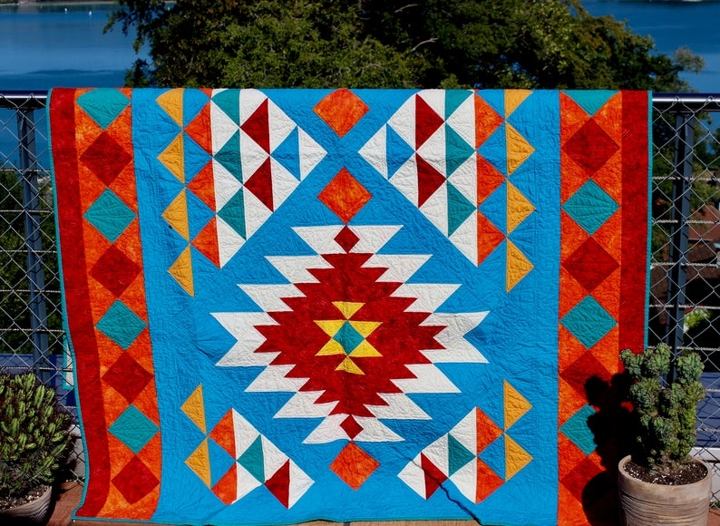 southwest quilt pattern navajo inspired indian native american quilt throw finished size 56x 78 pdf download Elegant Native American Quilt Patterns