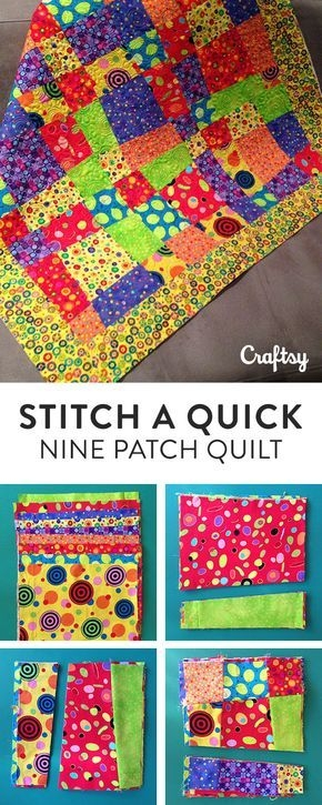 stitch a quick and easy crazy nine patch quilt pattern Cozy Crazy Nine Patch Quilt Pattern