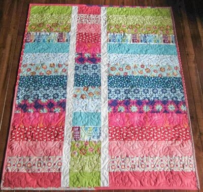 strips sewn cut into 3 pieces one turned upside down Elegant String Pieced Rag Quilt Pattern