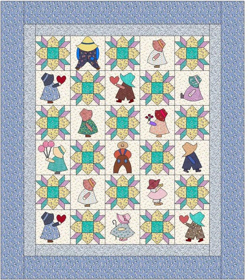 sunbonnet sue quilt pattern instant download pdf quilt is 84 x 96 full size Interesting Sunbonnet Sue Quilt Pattern