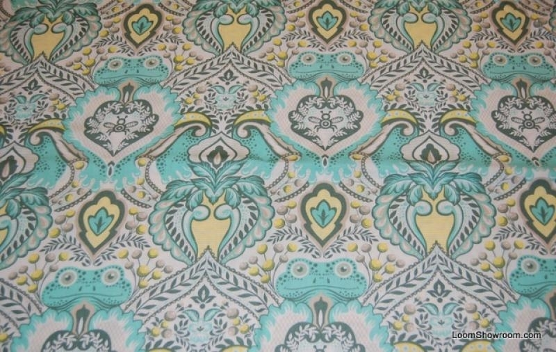 t380 tula pink prince charming frog damask print retro Interesting Unique Damask Quilting Fabric