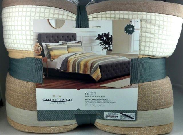 threshold king micro geo stripe quilt yellow vintage washed Stylish Threshold Vintage Washed Quilt Inspirations