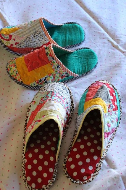 through the window tutorial pantuflas patchwork patchwork Quilted Slippers Patterns Inspirations