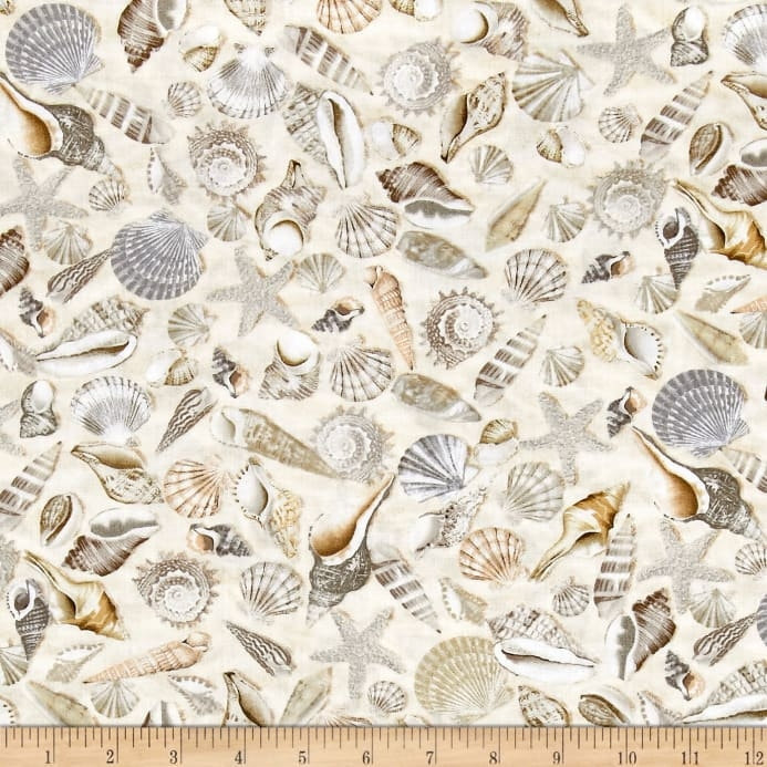 timeless treasures beach haven shells shells Cool Beach Fabric For Quilting