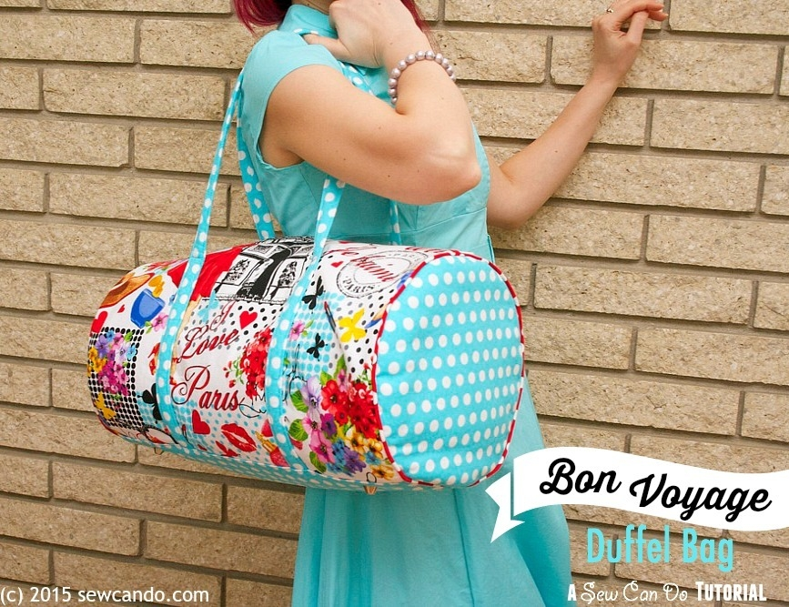 timeless treasures bon voyage duffel bag sew can do Elegant Quilted Duffle Bag Sewing Pattern Inspirations
