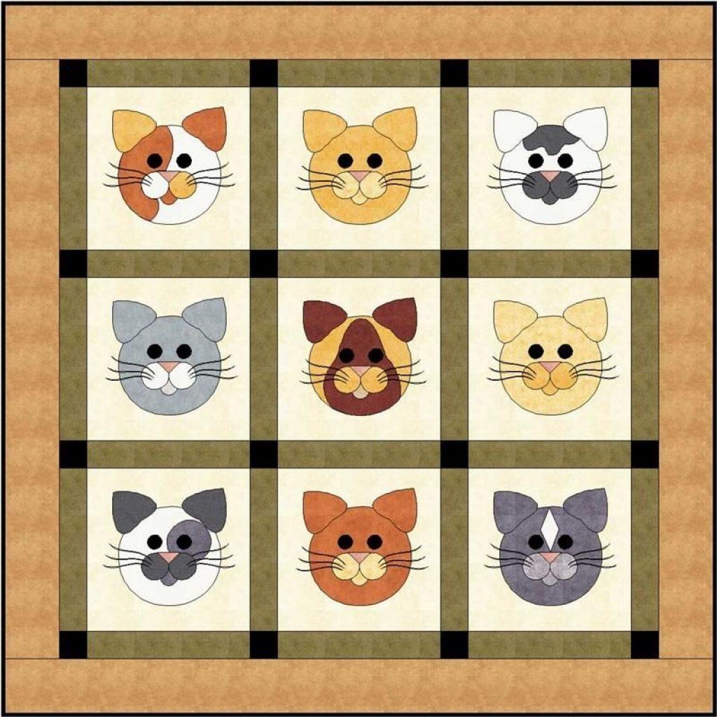tom cats quilt pattern fcp 018 applique cat quilt Elegant Cat Applique Quilt Patterns