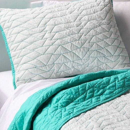 triangle stitch quilt and sham set fullqueen black 3pc Modern Triangle Stitch Quilt And Sham Set Pillowfort Inspirations
