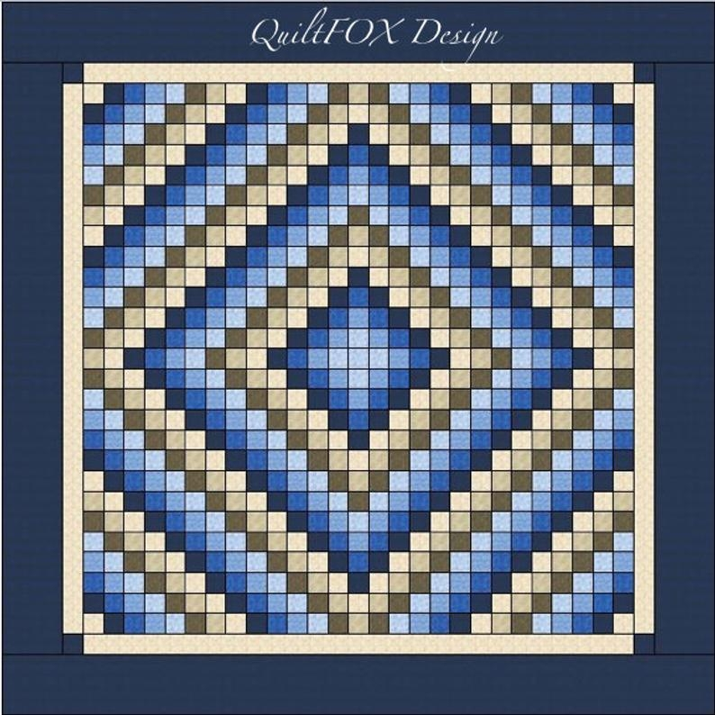 trip around the world quilt pattern king size 105 x 105 printed Elegant Quilt Pattern Trip Around The World