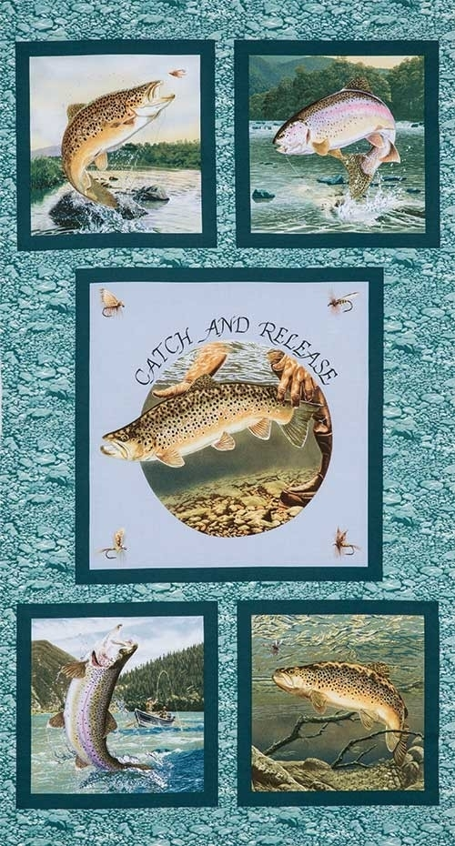 trout fishing fabric panel keepsake quilting fish fabric for Interesting New Fish Fabric For Quilting