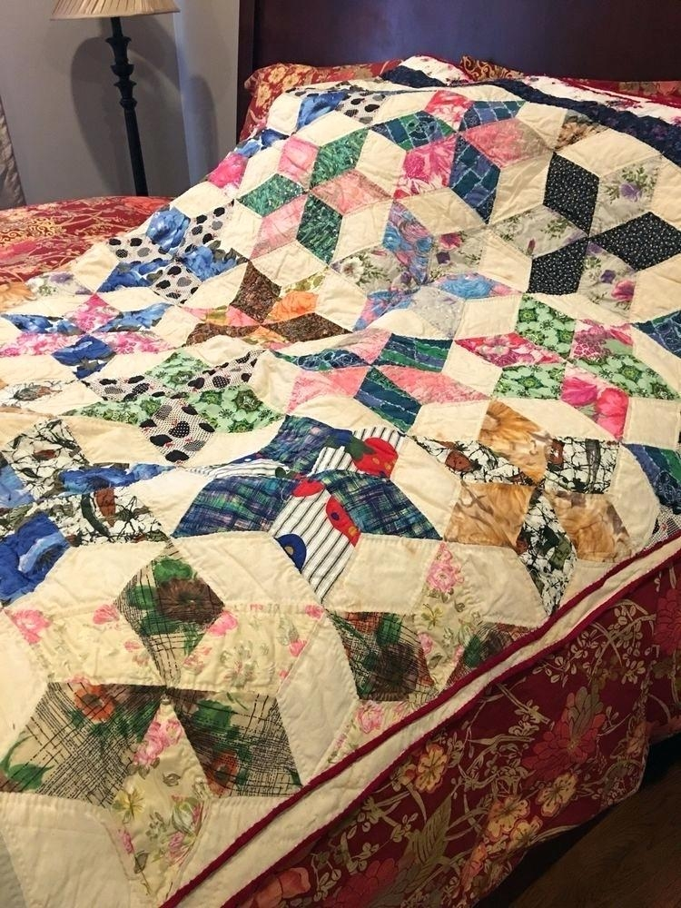 twin patchwork quilts vintage handmade quilt never used size Stylish Vintage Patchwork Quilts For Sale