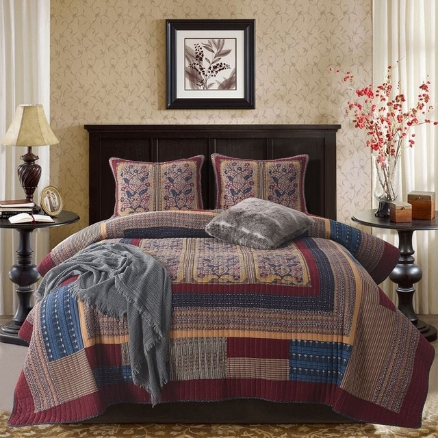 us 11513 28 offchausub vintage cotton bedspread quilt set 3pc handmade patchwork quilted quilts bed cover pillowcase king size coverlet blanket in Vintage King Size Quilts Inspirations